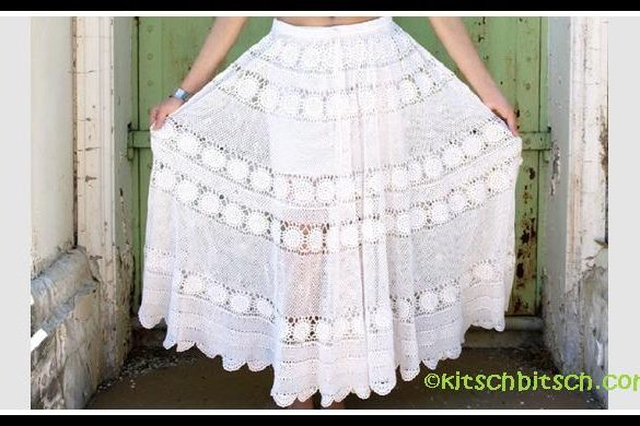 Crochet lace gypsy skirt