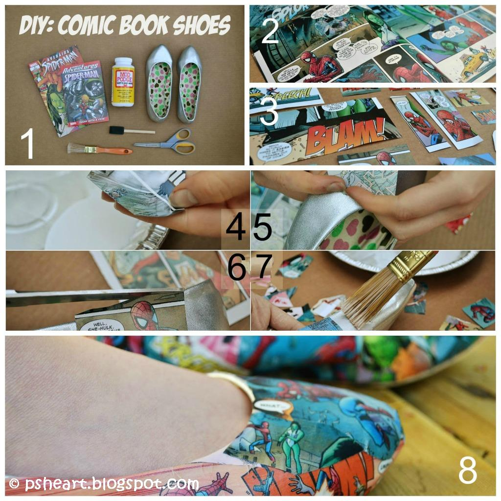 13cbd355a540 Comic Book Shoes Tutorial - DIY Home Tutorials