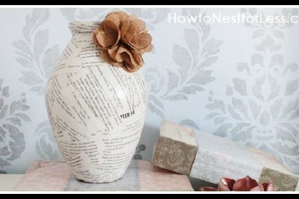 Book Page Vases Upcycling