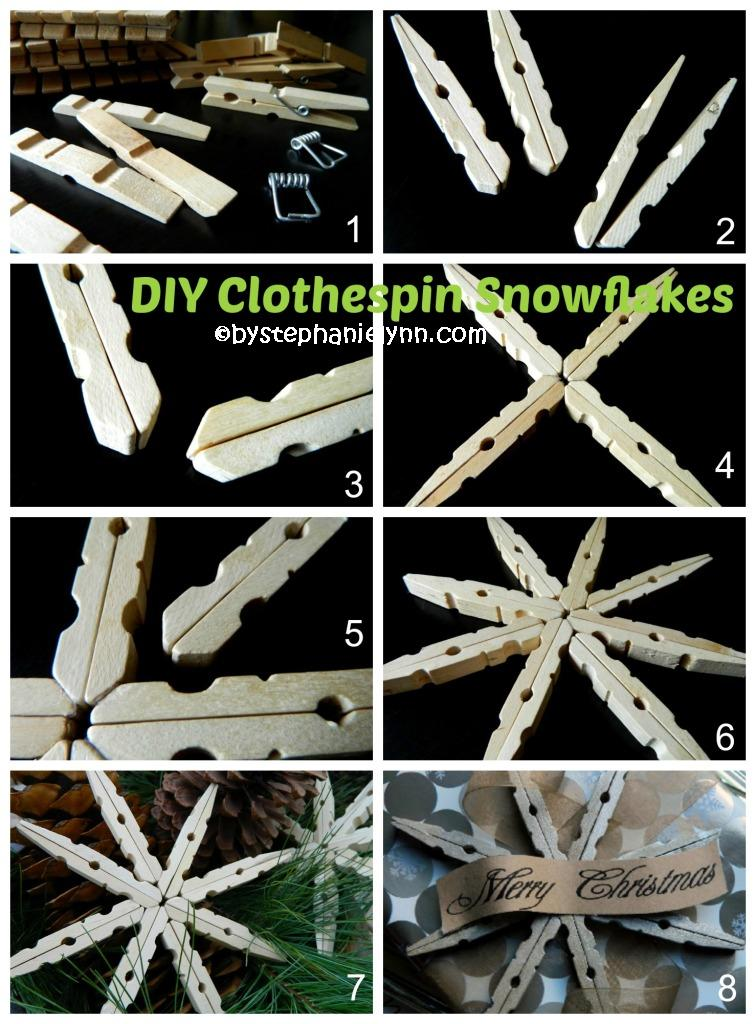 How to make Clothespin Snowflakes