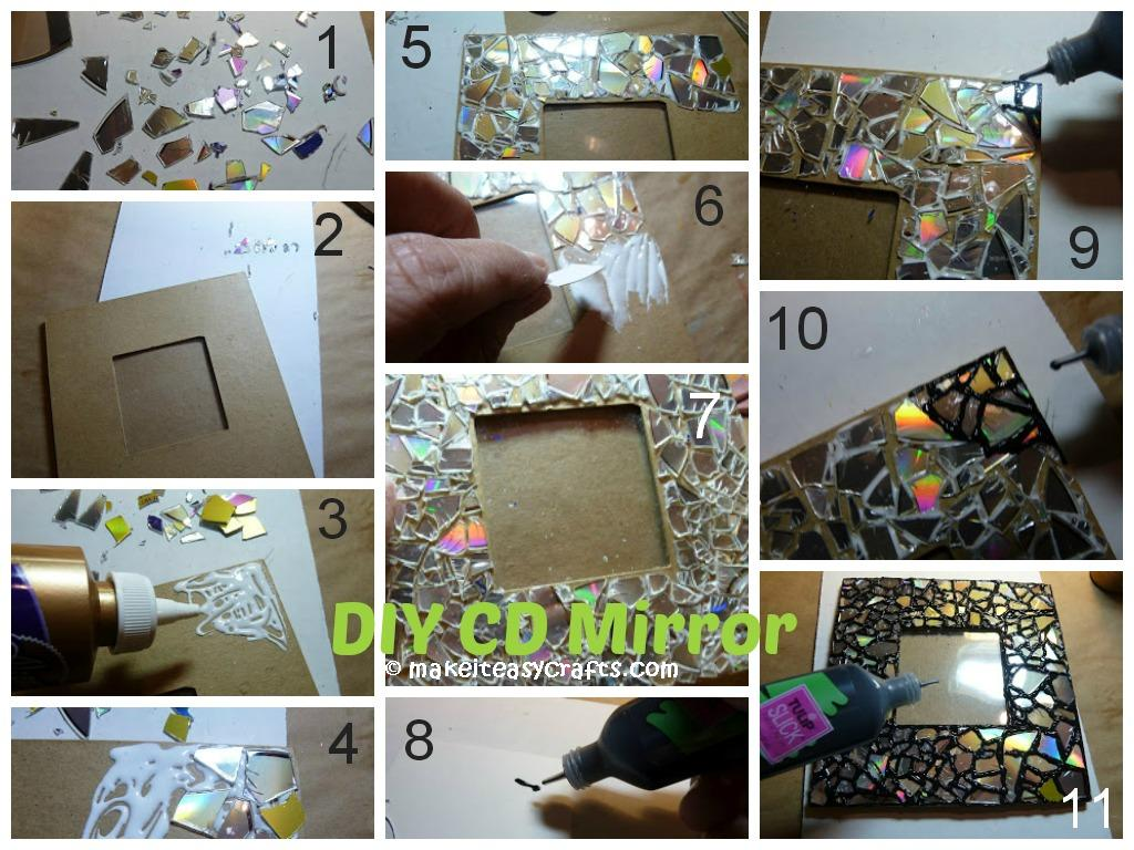 How to make a CD Mirror Frame mosaic