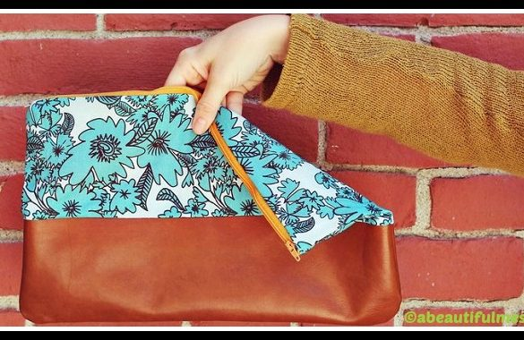 DIY Cotton Leather Clutch Purse