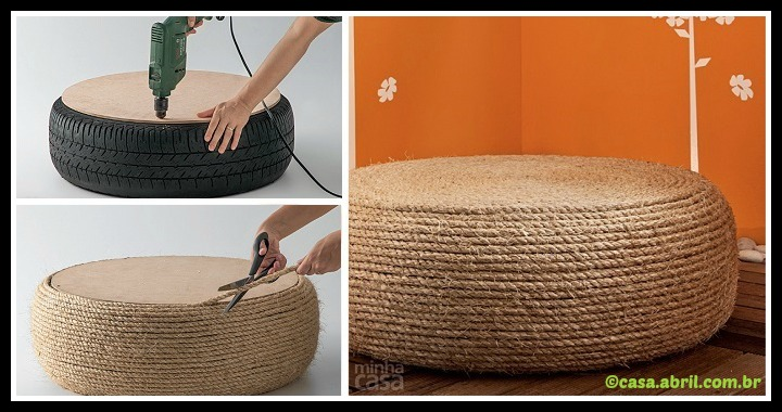 DIY Ottoman from old tire Tutorial