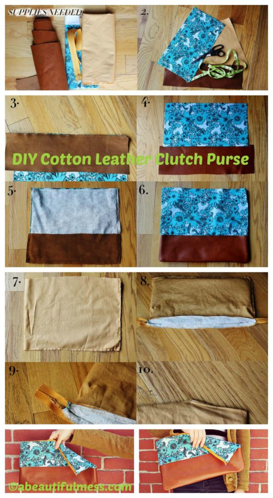 How to make a Cotton Leather Clutch Purse