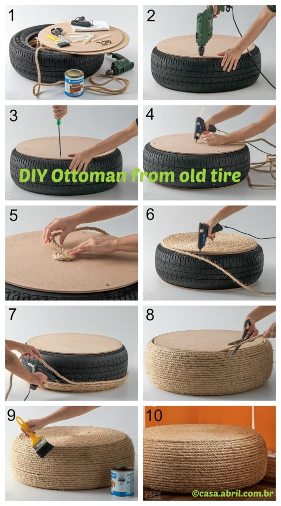 How to make an Ottoman from old tire
