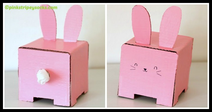DIY Cardboard Bunny Tissue Box Holder Tutorial