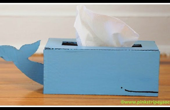 DIY Cardboard Whale Tissue Box Holder Tutorial