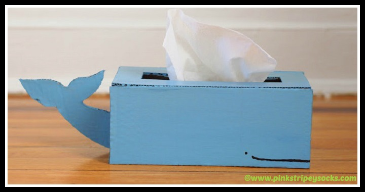 DIY Cardboard Whale Tissue Box Holder Tutorial