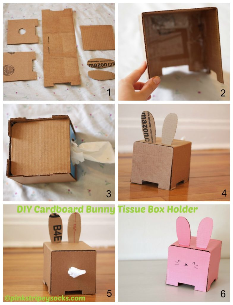 How to make a Cardboard Bunny Tissue Box Holder