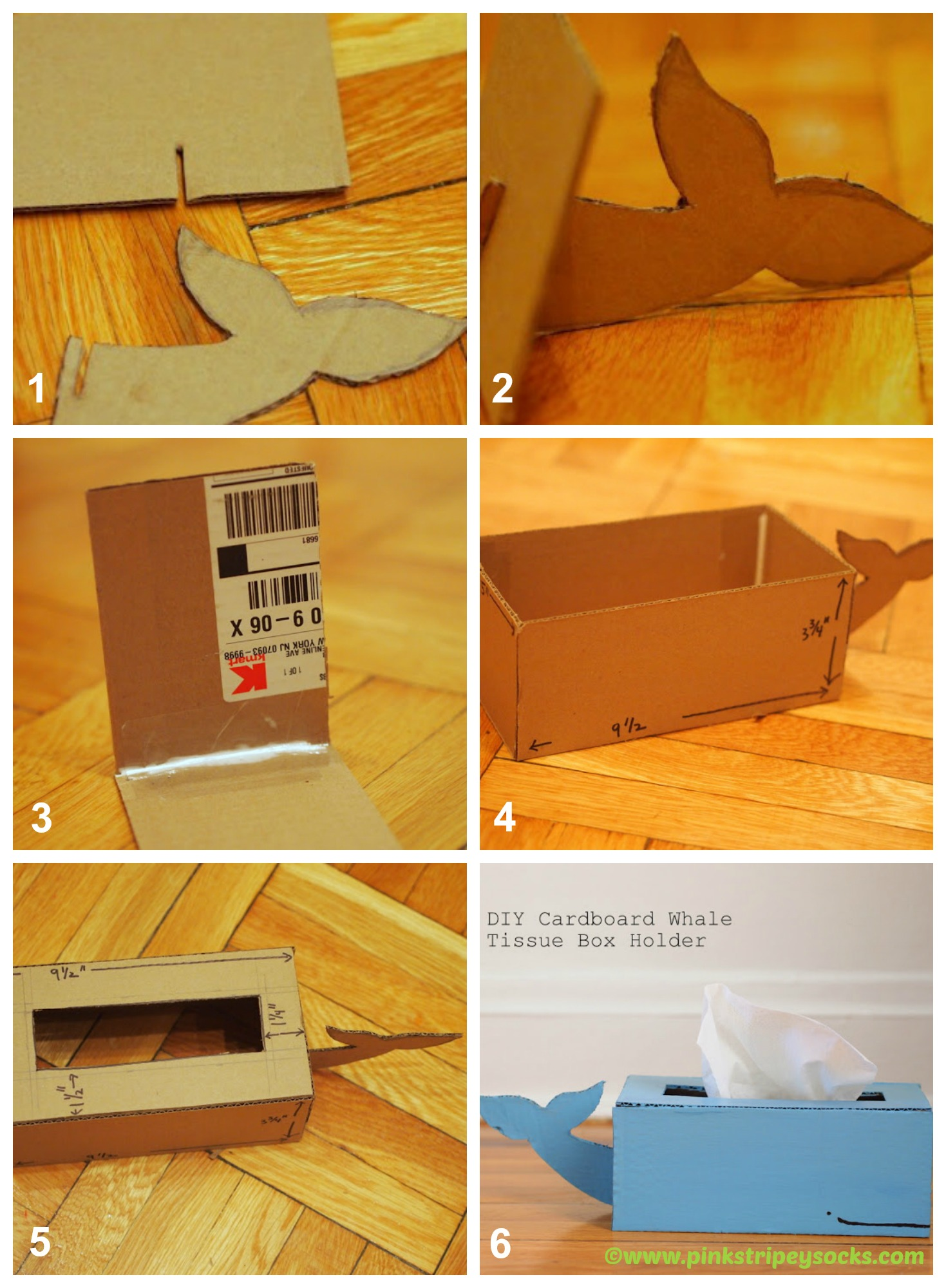 Cardboard whale tissue box holder diy home tutorials for How to make a house from cardboard box