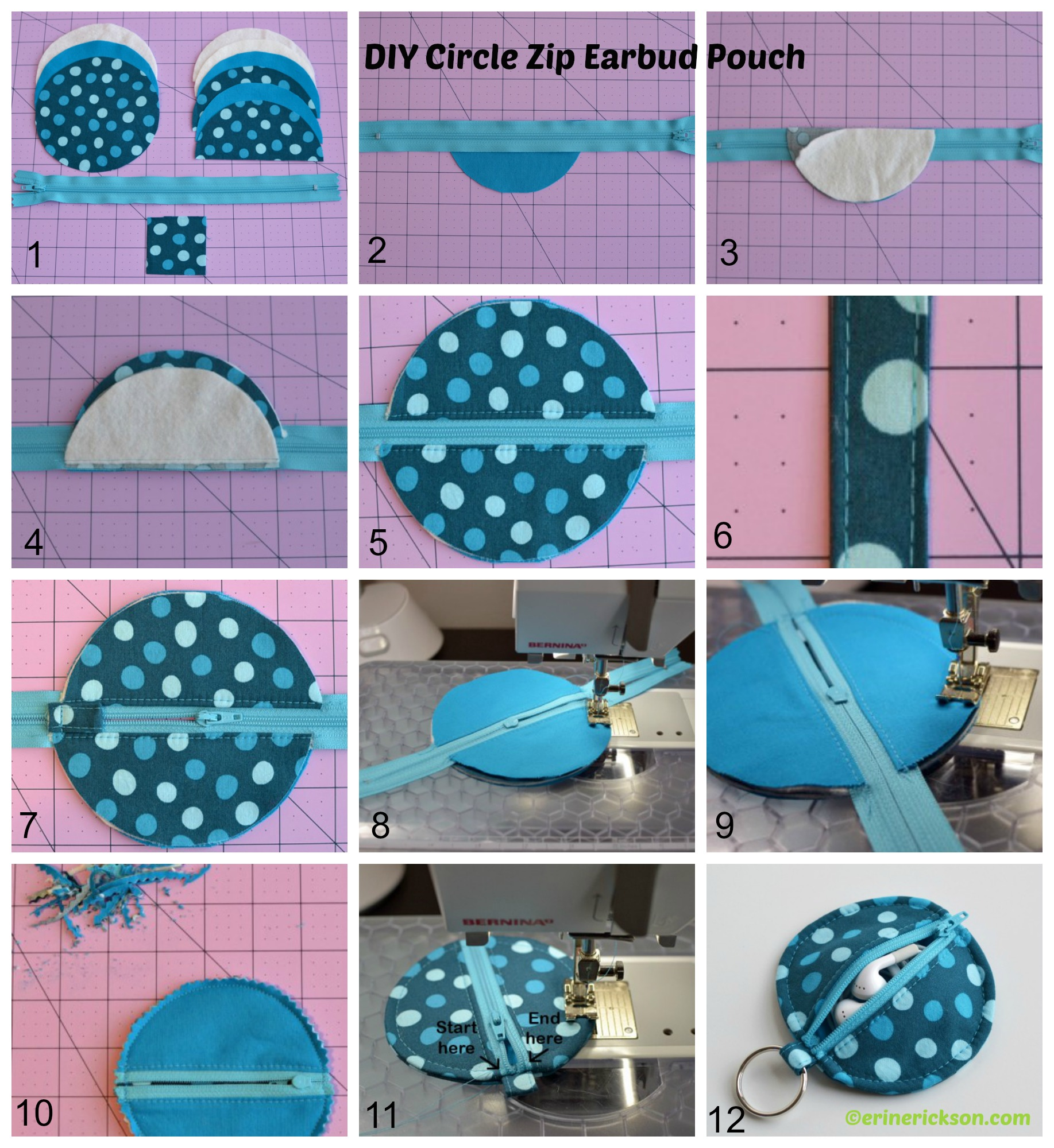 How to make a Circle Zip Earbud Pouch