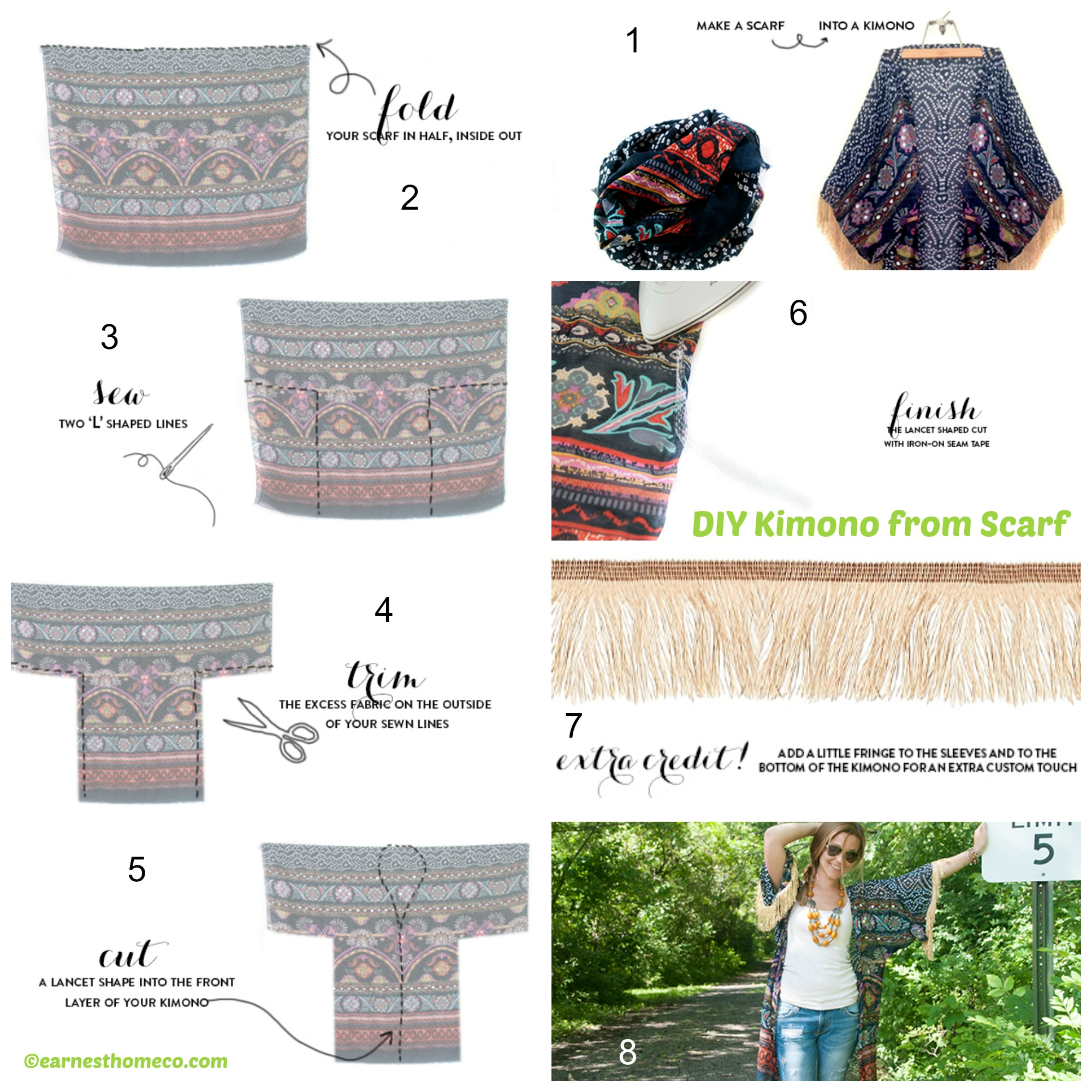 How to make a Kimono from Scarf