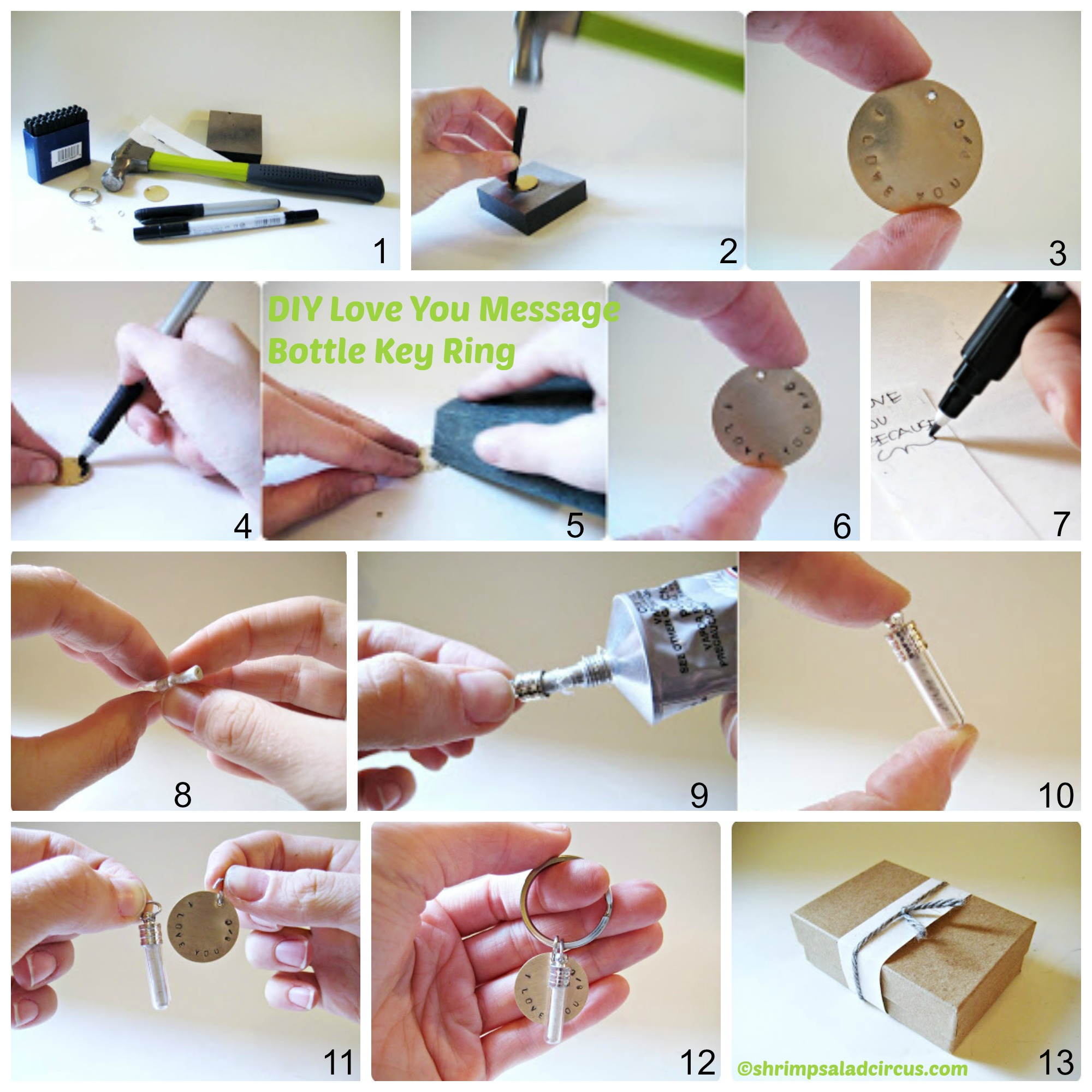 How to make a Love You Message Bottle Key Ring