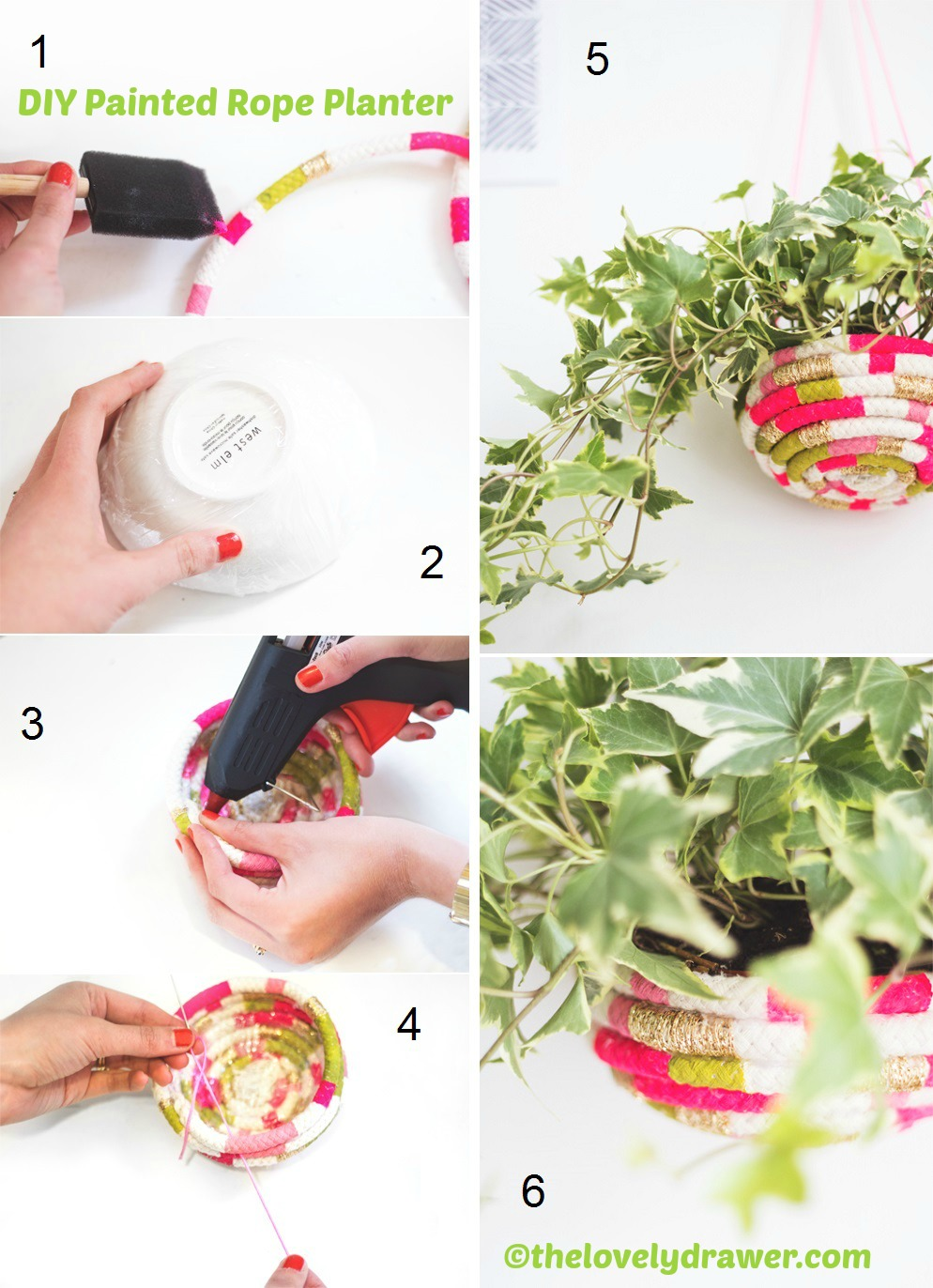 How to make a Painted Rope Planter