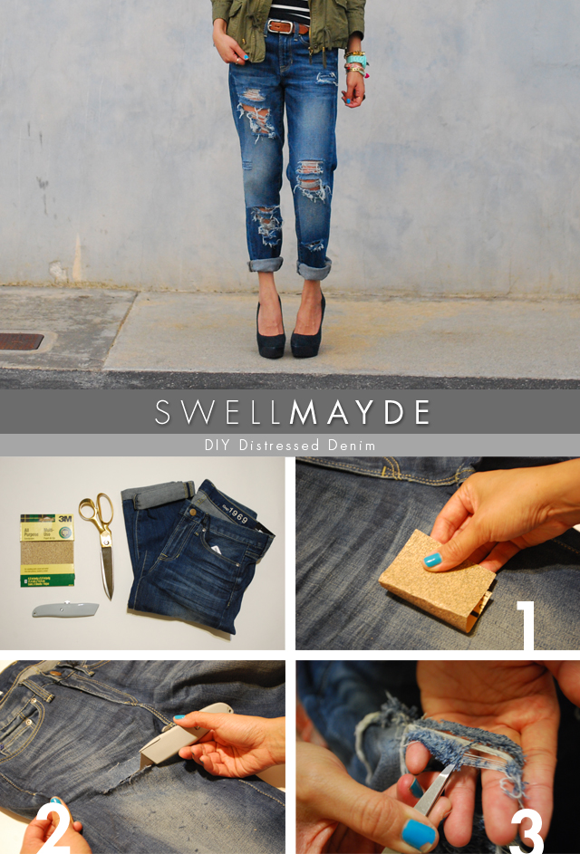 DIY Distressed Jeans Tutorial