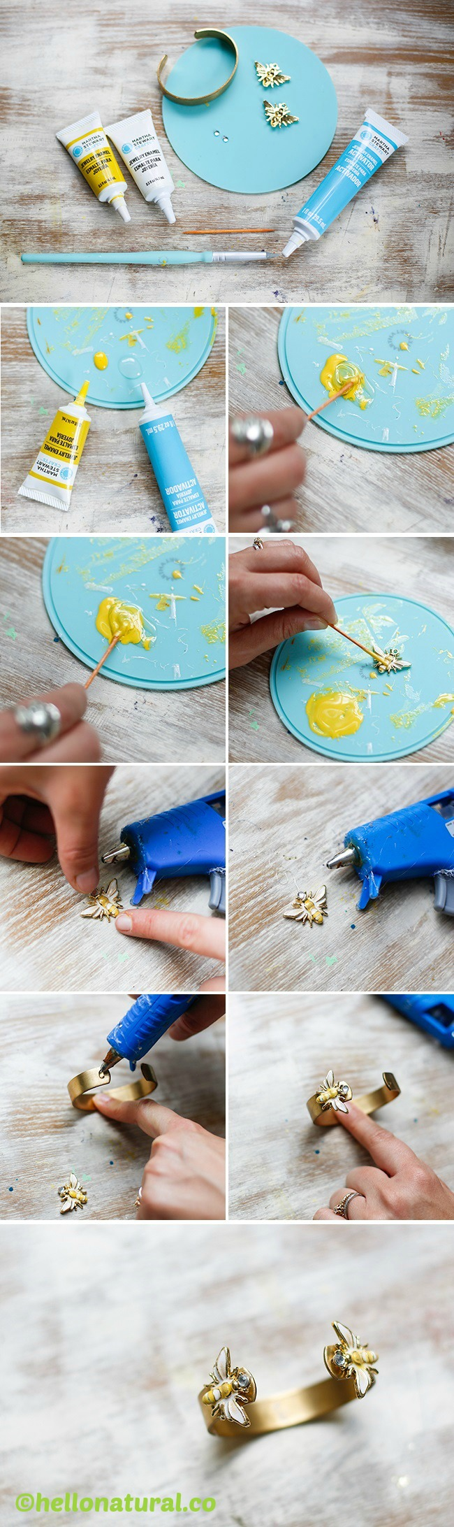 How to make an Enamel Bee Cuff