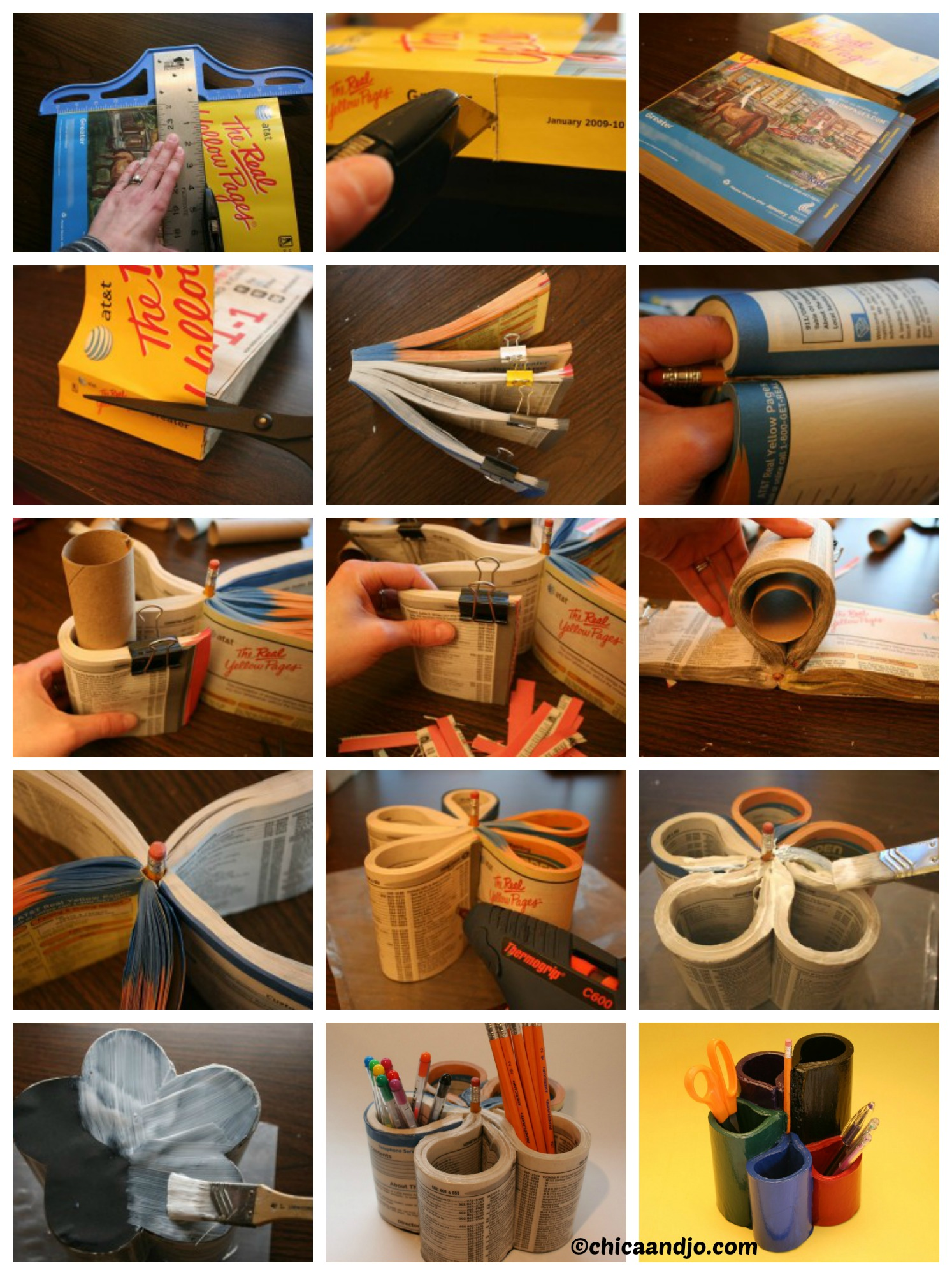 How to turn a Phone Book into a Pen Organizer