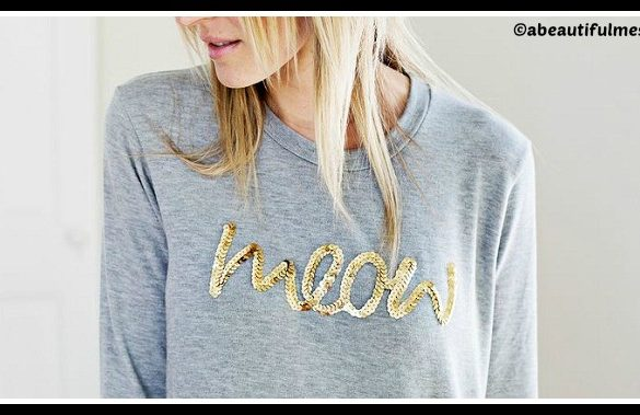 DIY Sequin Phrase Sweatshirt Tutorial
