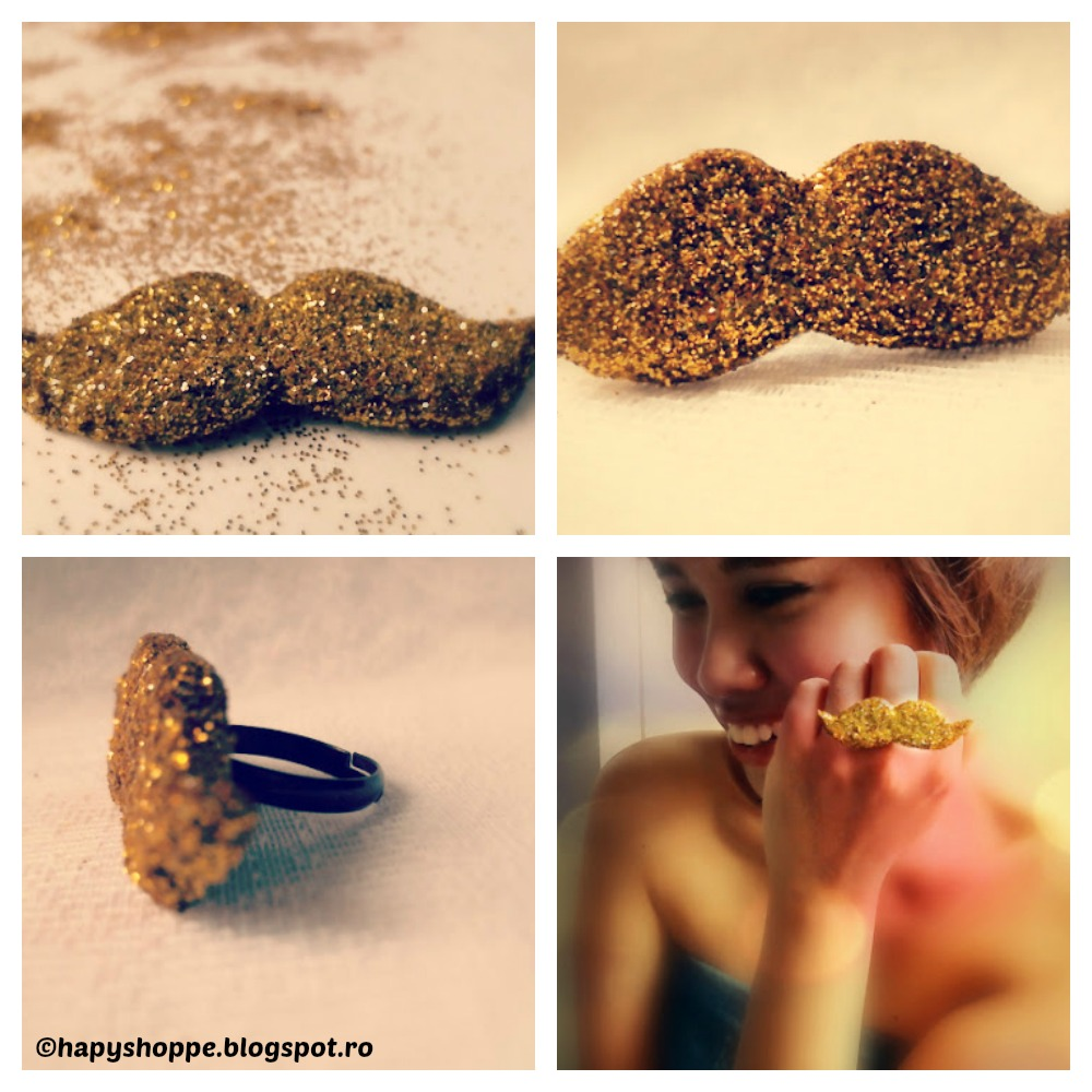 How to make a Glitter Moustache Ring