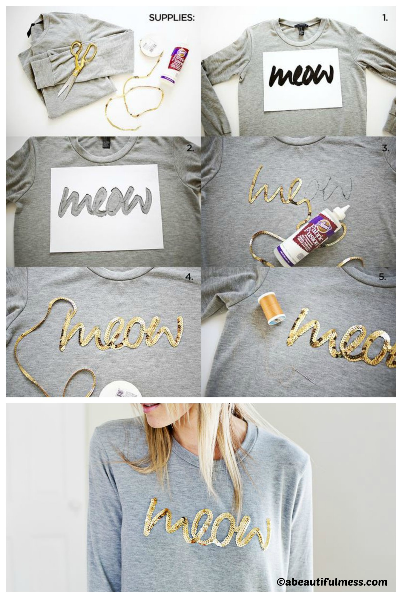 How to make a Sequin Phrase Sweatshirt