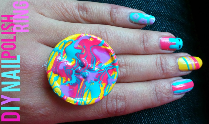 nail polish splattered button ring