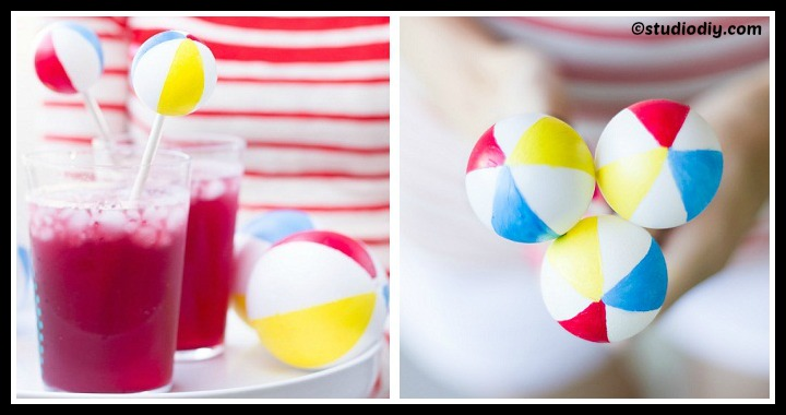 DIY Beach Balls Drink Stirrers Tutorial