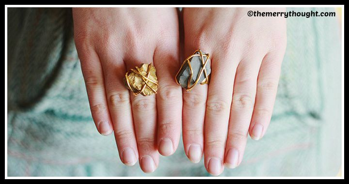 DIY Golden Stone Ring Tutorial