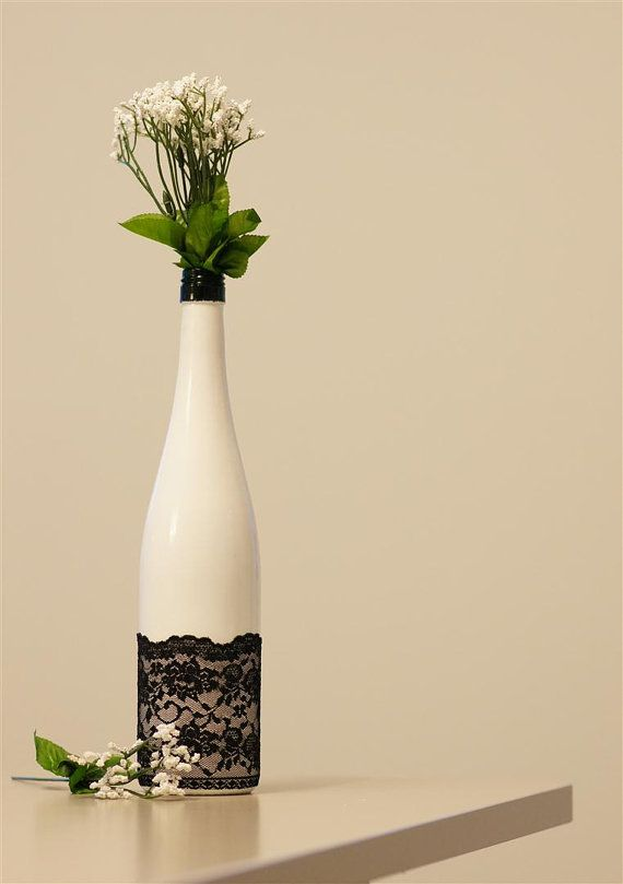 Painted Wine Glass With Lace