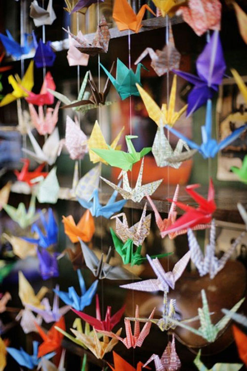 paper crane curtains