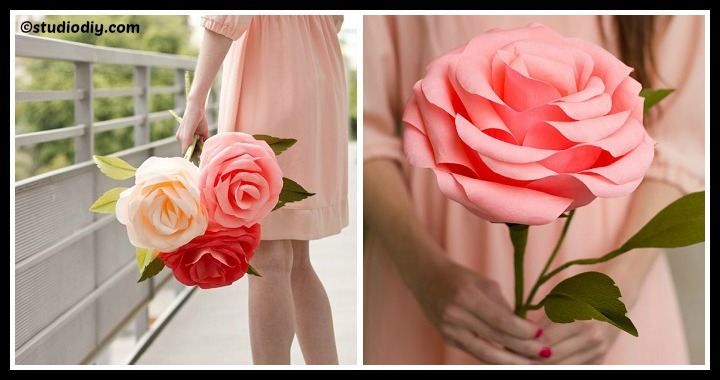 DIY Giant Crepe Paper Roses Tutorial