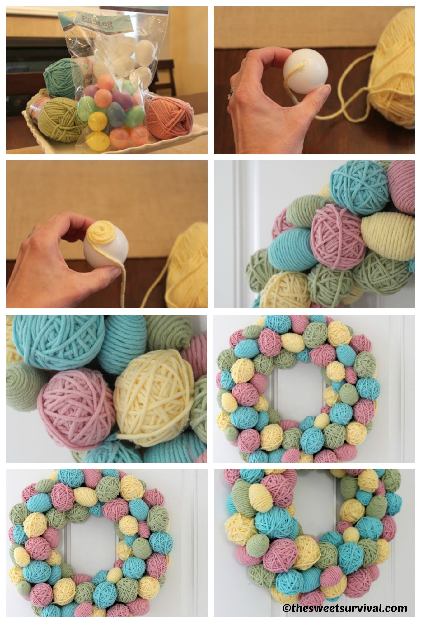 How to make a Yarn Egg Wreath