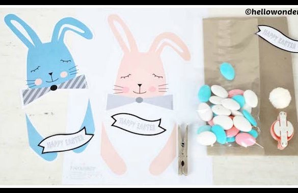 DIY Easter Printable Bunny Treat Bags Tutorial