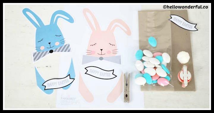 DIY Easter Printable Bunny Treat Bags Tutorial