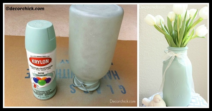DIY Painted Mason Jar Vase Tutorial