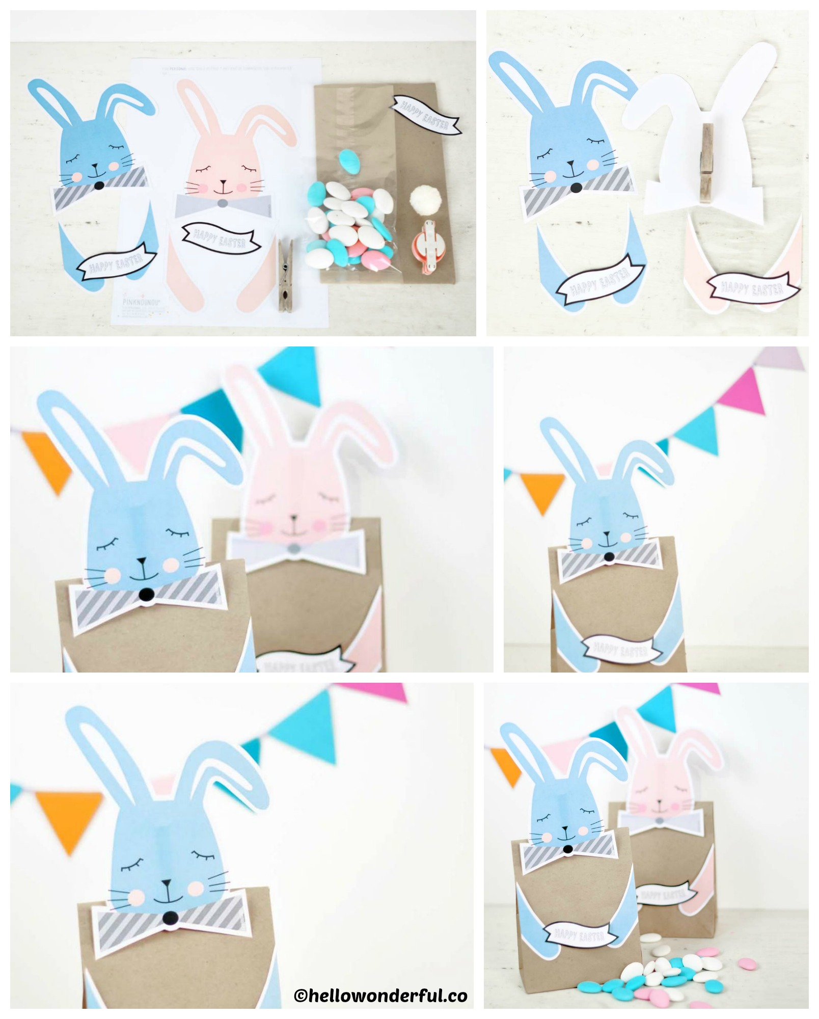 How to make Easter Printable Bunny Treat Bags