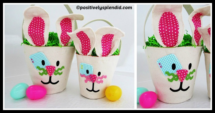 DIY Canvas Bunny Easter Buckets Tutorial