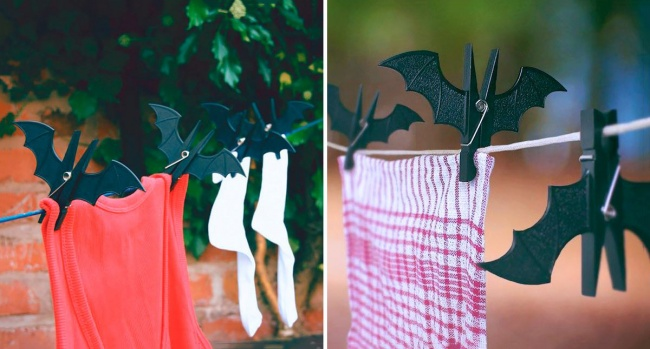 Bat-themed clothes pegs