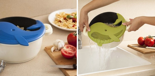 A whale-themed colander