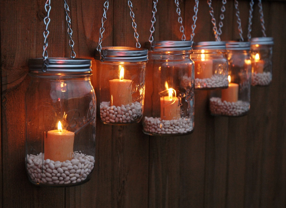 Glass jars into street lights
