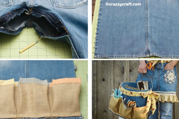 denim apron and basket from old jeans