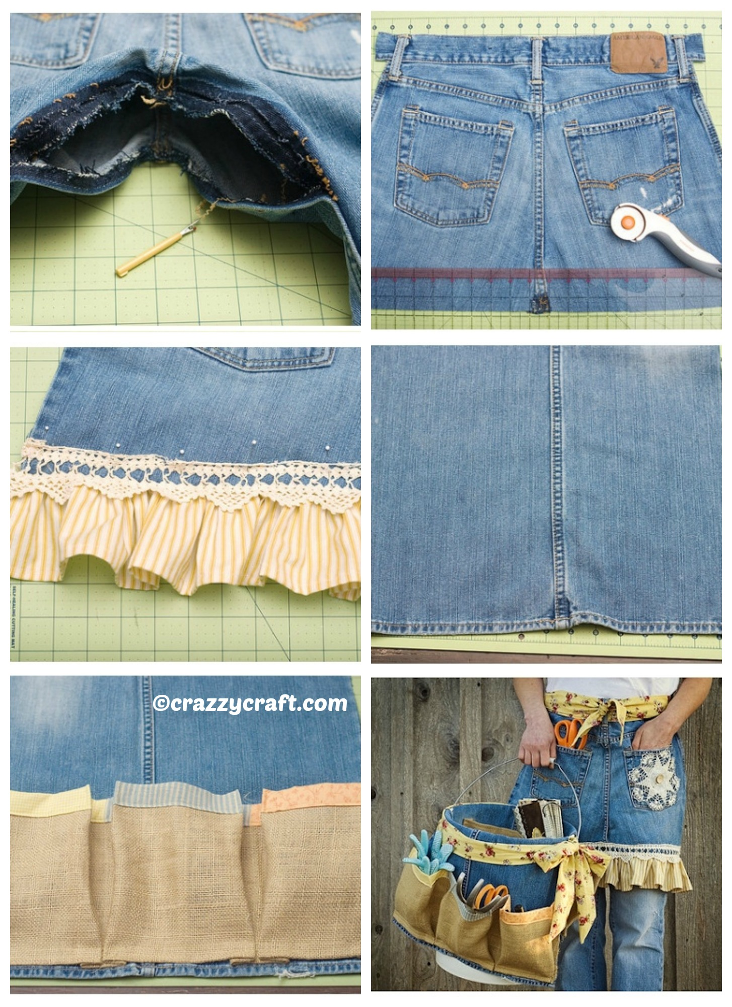 how to make a denim apron and basket