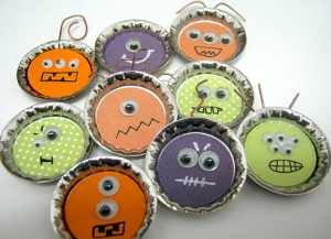 Spooky bottle cap monsters