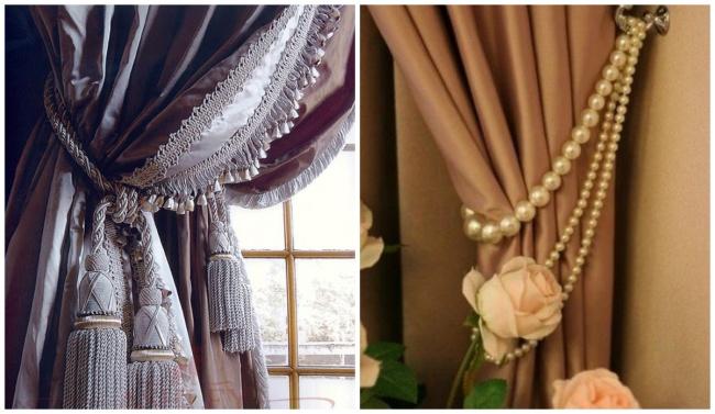 Elegant curtain tiebacks