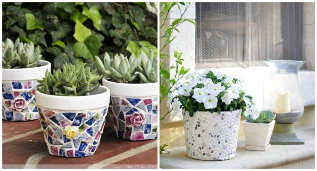 Mosaic flowerpots