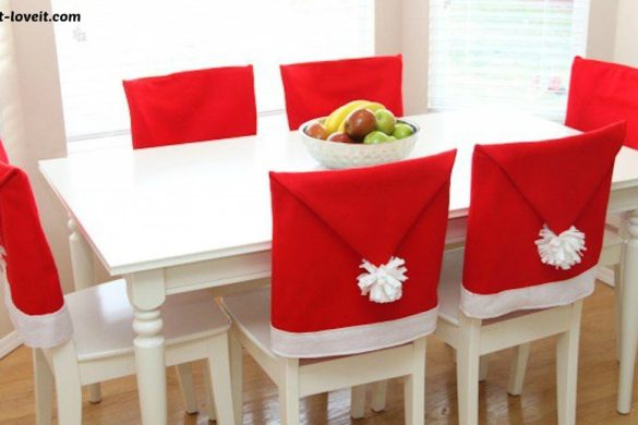 DIY Santa Hat Chair Covers Tutorial