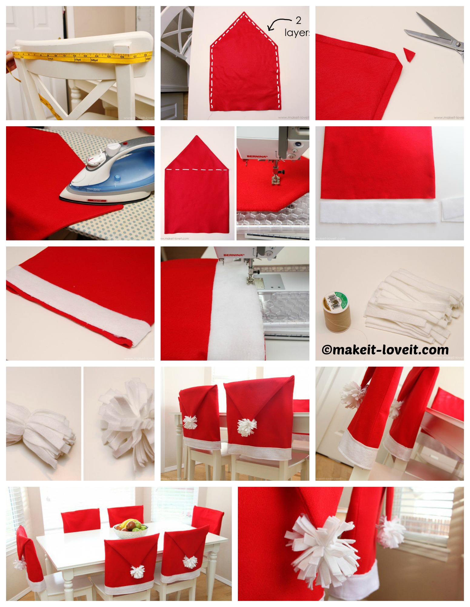 How to amake Santa Hat Chair Covers