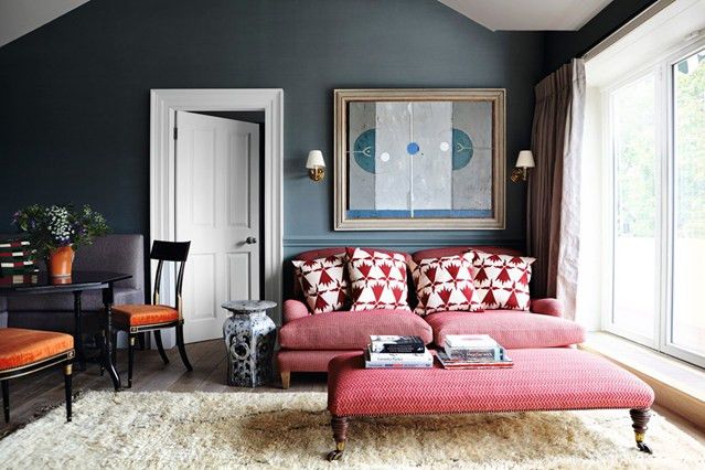 Red sofa with red ottoman