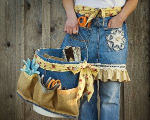 Denim apron and basket