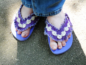 Denim lace flip flops