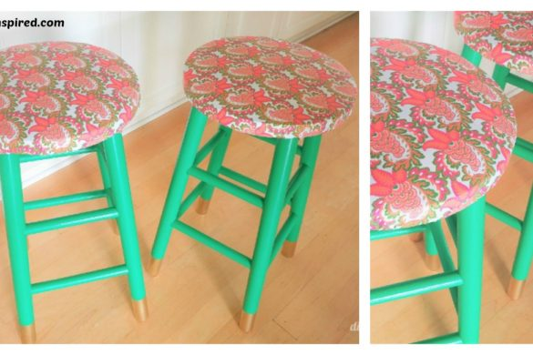 DIY Emerald Green Gold Stool Makeover Tutorial